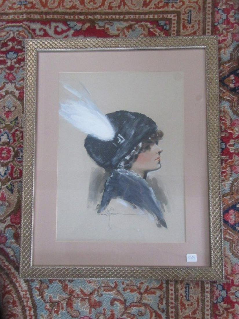 Gouache. Flapper Lady in a Cloche - 2