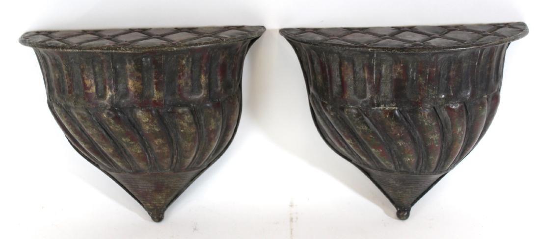 Pr. Antique Copper Wall Shelves