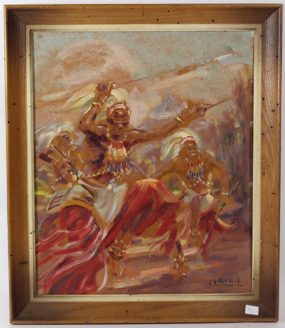 Andre Hallet.Oil. African Scene. Signed.