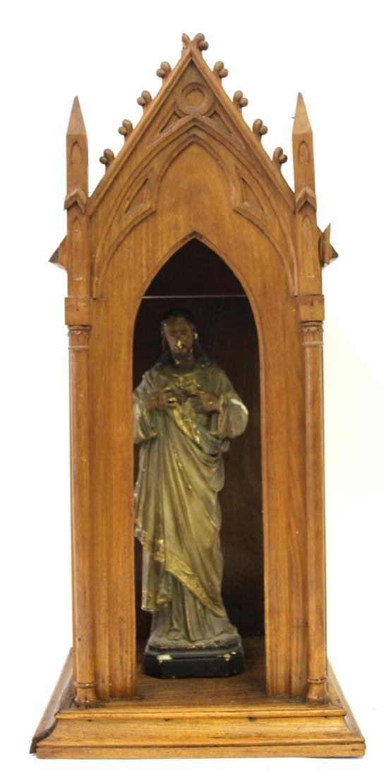 Antique Gothic Shrine with Figure & Shelf