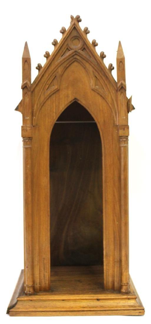 Antique Gothic Shrine with Figure & Shelf - 2