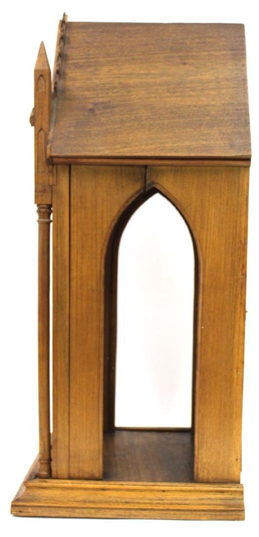 Antique Gothic Shrine with Figure & Shelf - 3