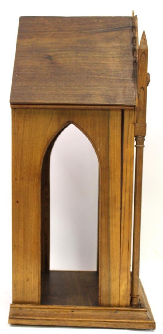 Antique Gothic Shrine with Figure & Shelf - 5