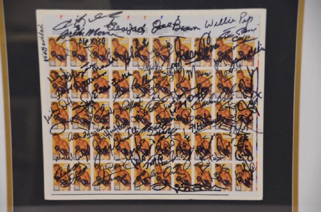 Joe Louis Uncut Stamp Sheet with Autographs. - 2