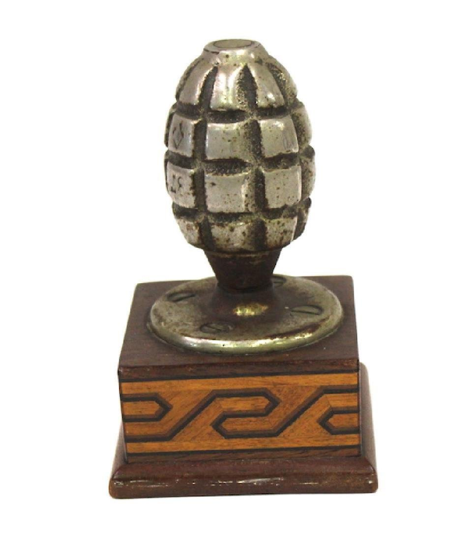 Hand Grenade Paperweight. Custom Mounted