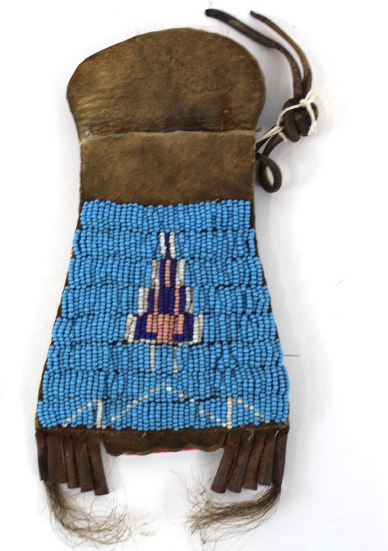 American Indian Hide and Beadwork Pouch