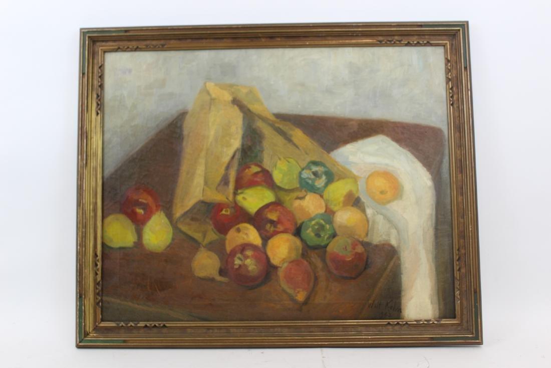 Walt Kuhn. Oil. Still Life With Apples. Sgd.