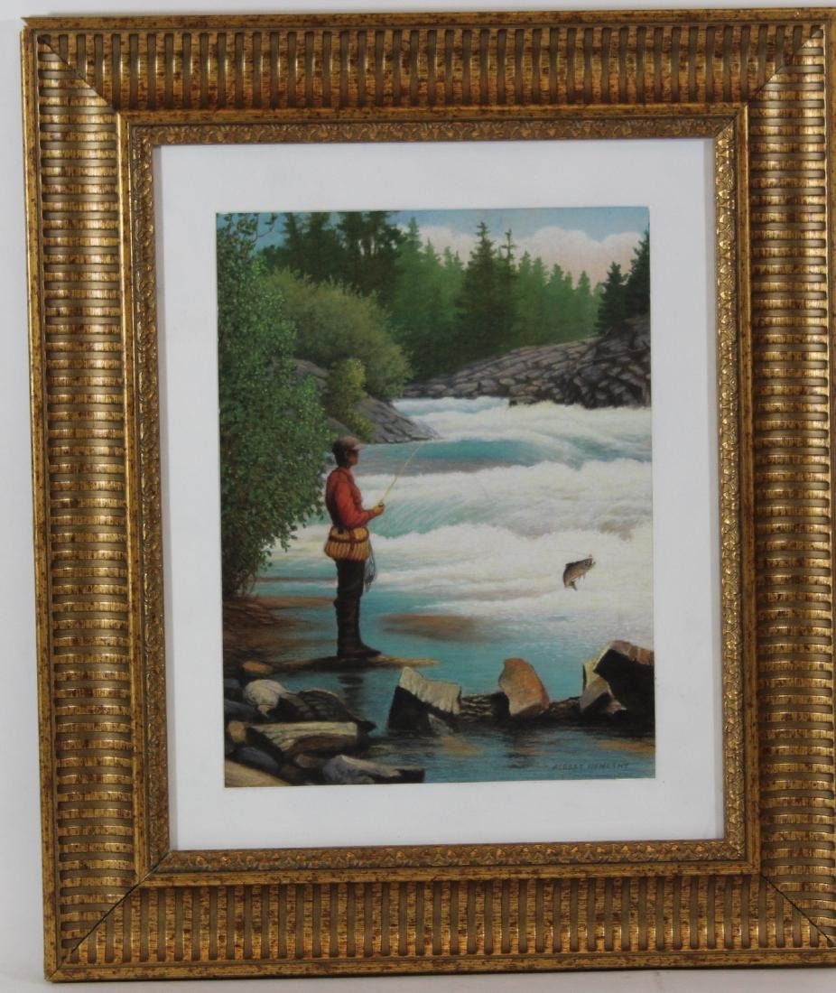 Albert Nemethy Oil . Fly Fisherman. Signed L.R.
