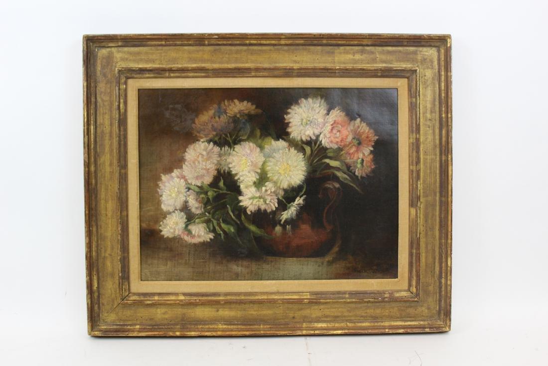 Emile Carlson. Oil. Floral Still Life. Signed