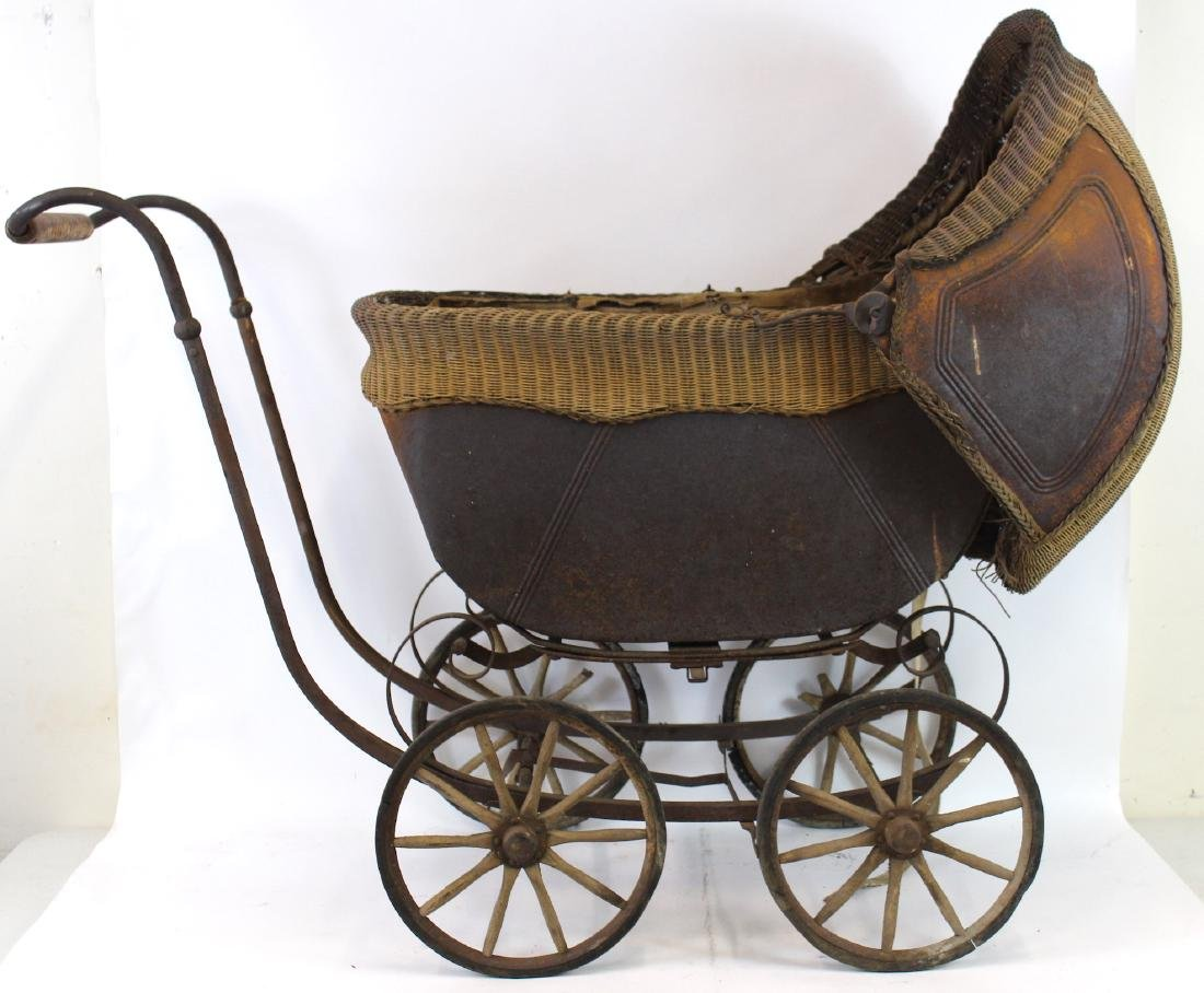 Turn of the Century Baby Carriage. Wicker