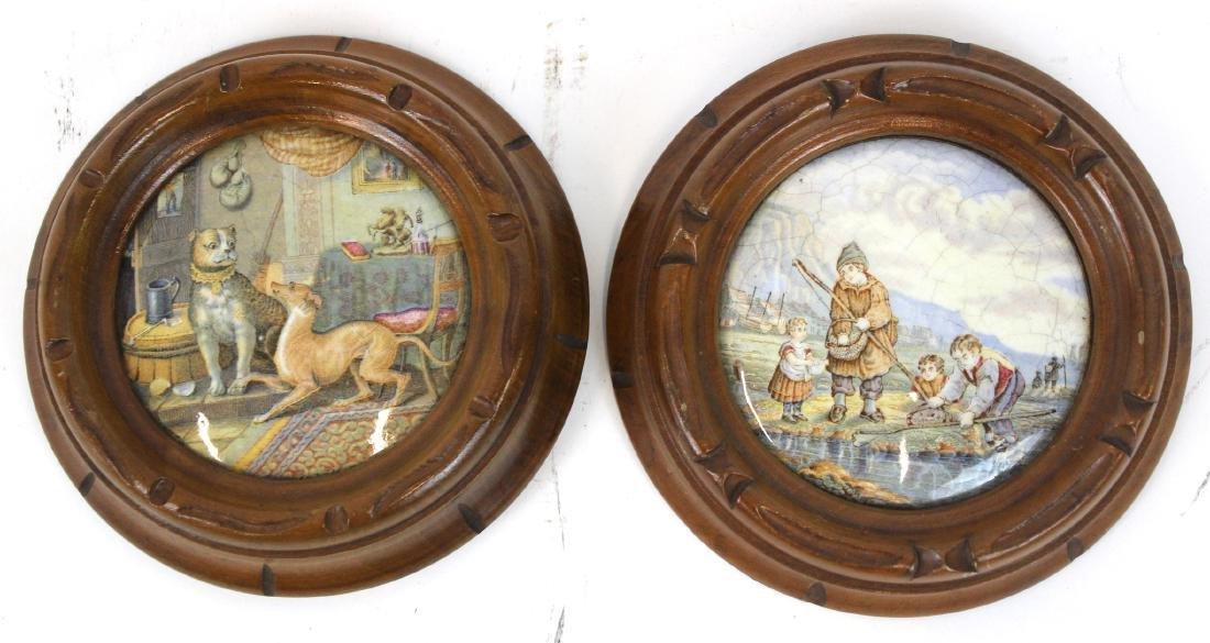 Pr. Antique Pomade Jar Tops. Framed.