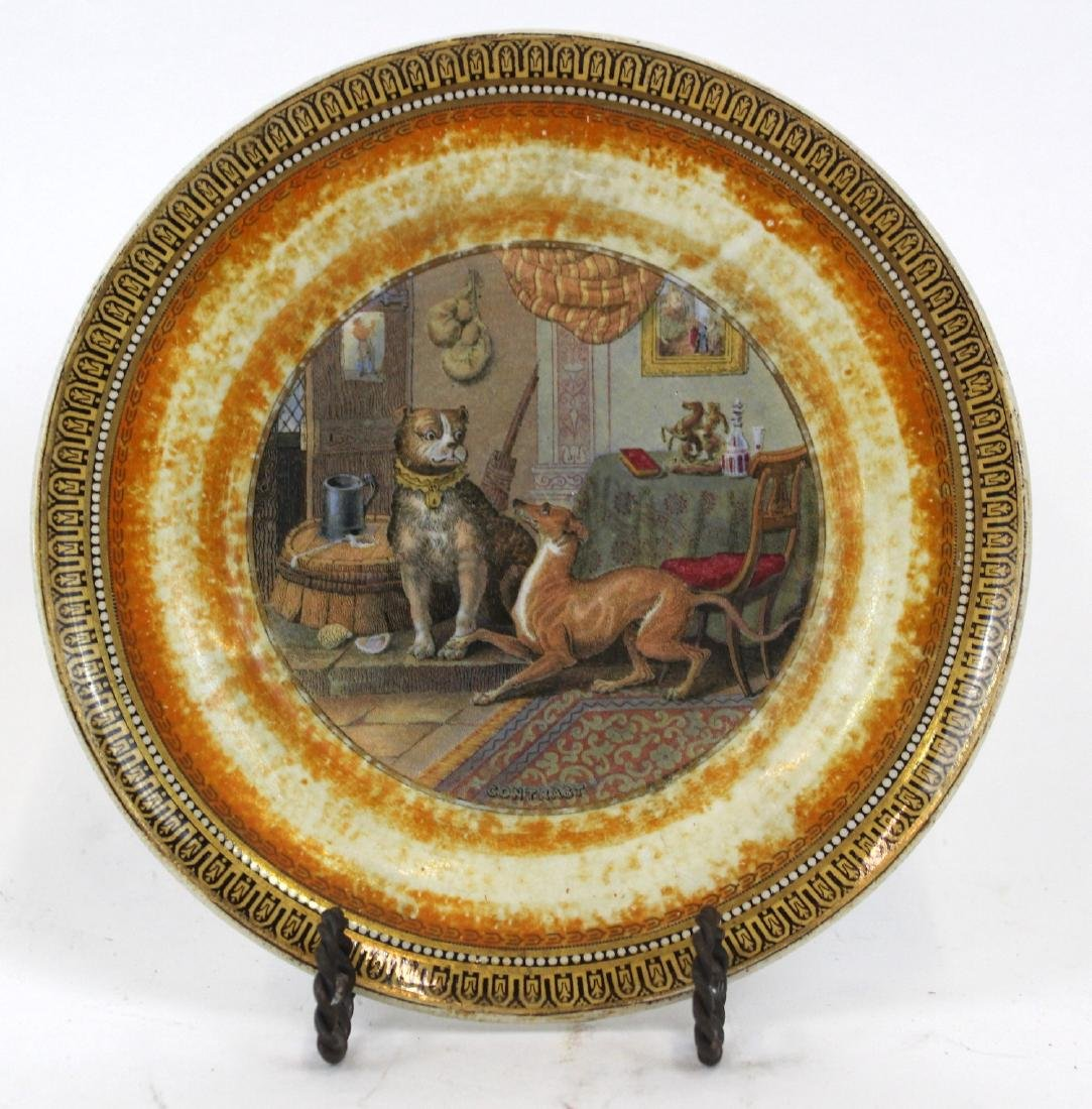 Dogs at Play. Decorated Collector's Plate.