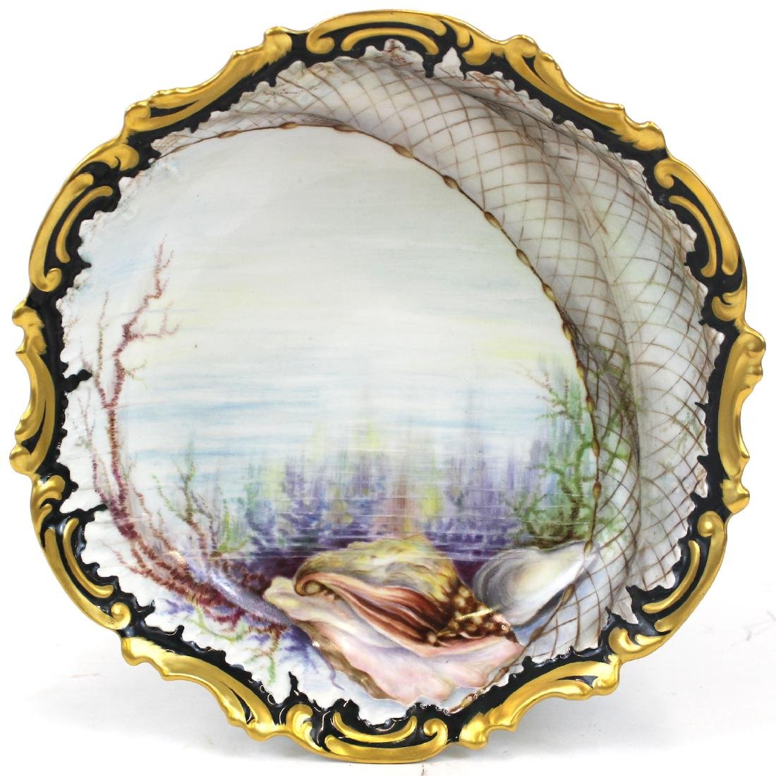 French Hand Painted Shell and Net Bowl