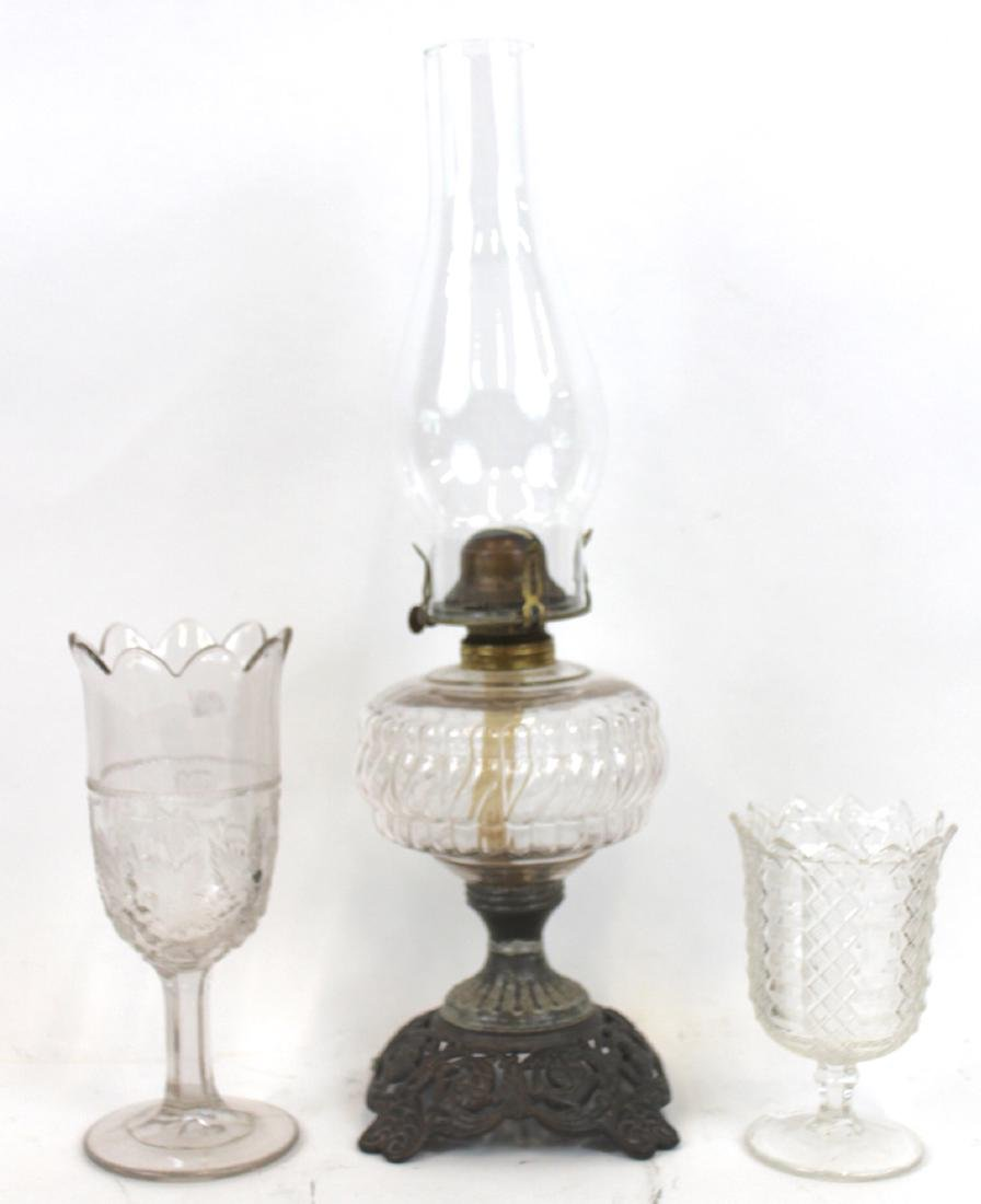 Pattern Glass Oil Lamp & Pattern Glass Celerys (3)