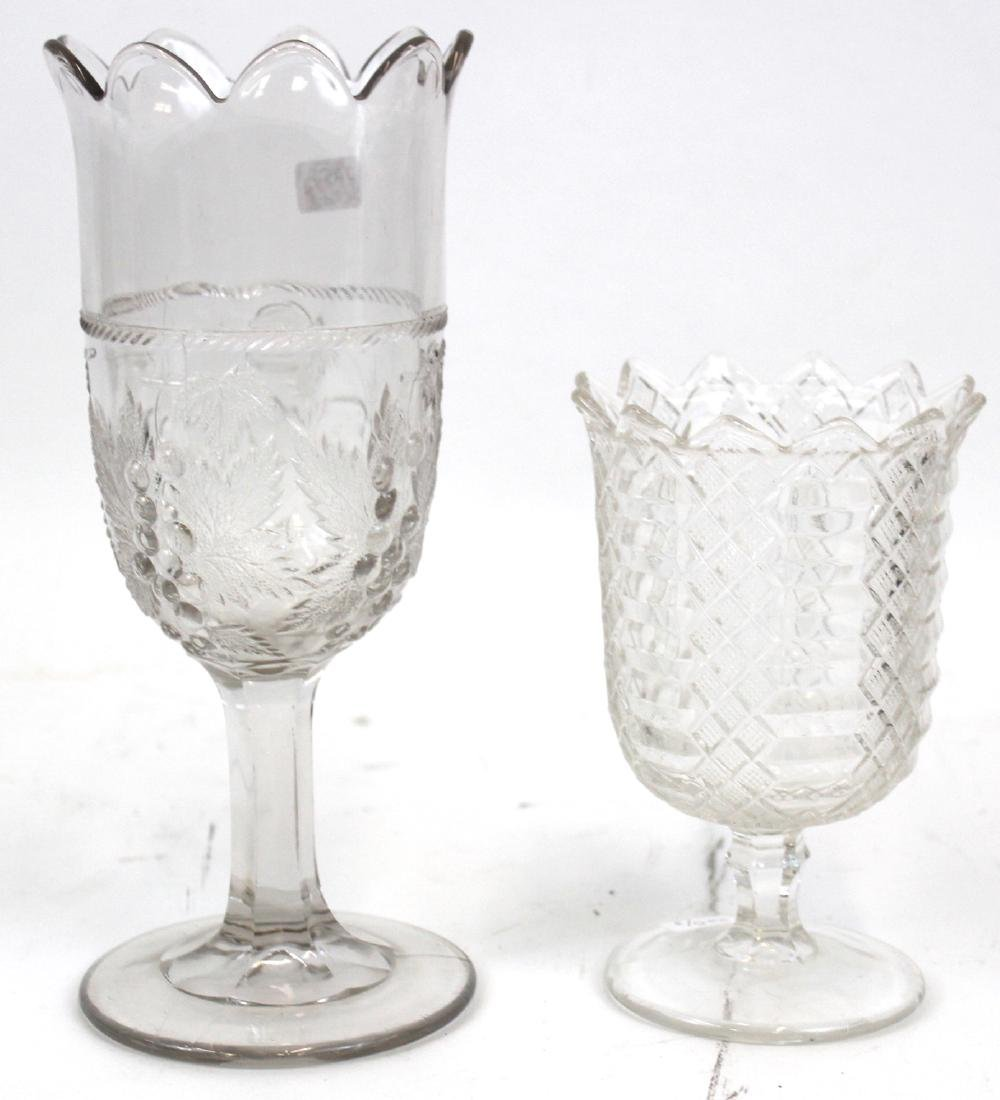 Pattern Glass Oil Lamp & Pattern Glass Celerys (3) - 3
