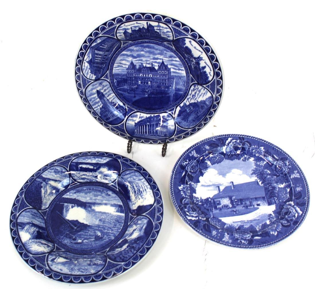 NYS Blue & White Souvenir Plates inc. Newburgh(3
