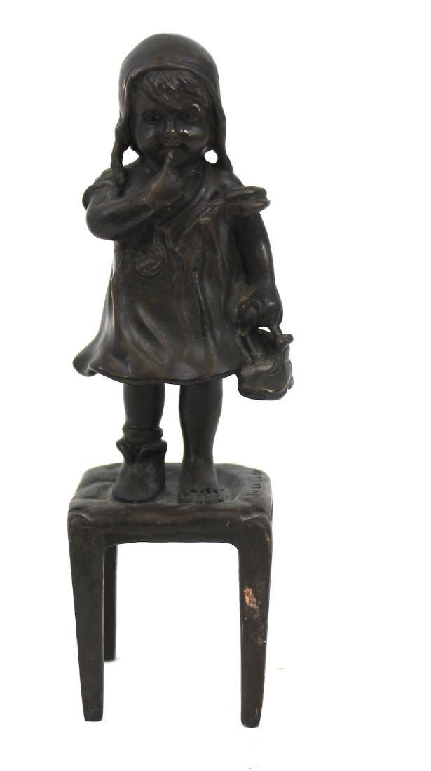 Bronze Figure. Girl on a Chair