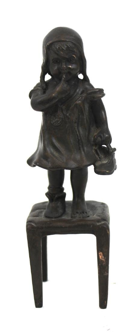 Bronze Figure. Girl on a Chair - 2