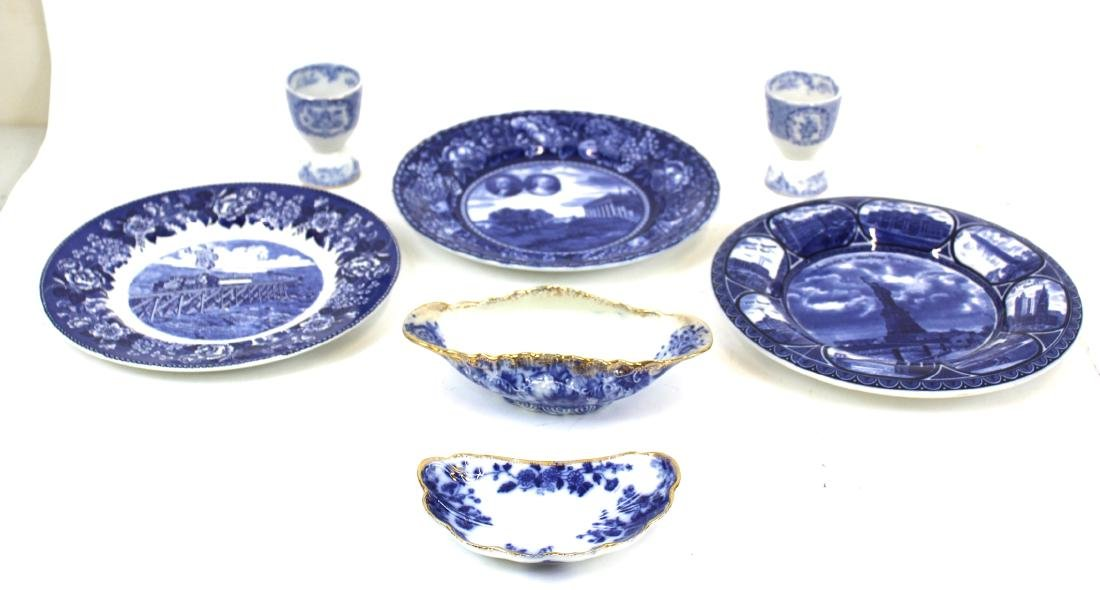 Collector's Lot of Flo-Blue & Staffordshire.(7)