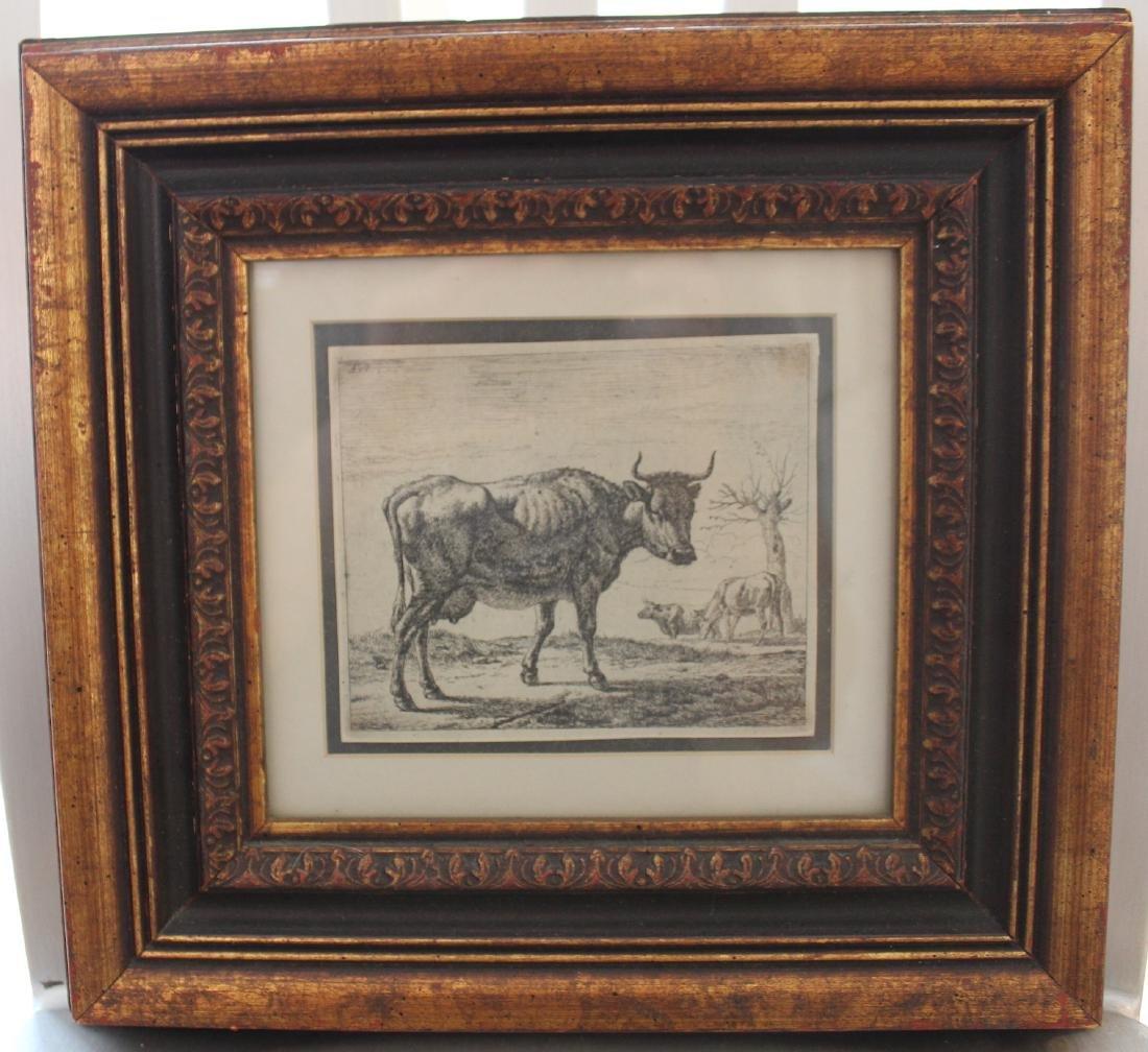 Adriaen Van de Velde. 17th C. Engraving.Cows