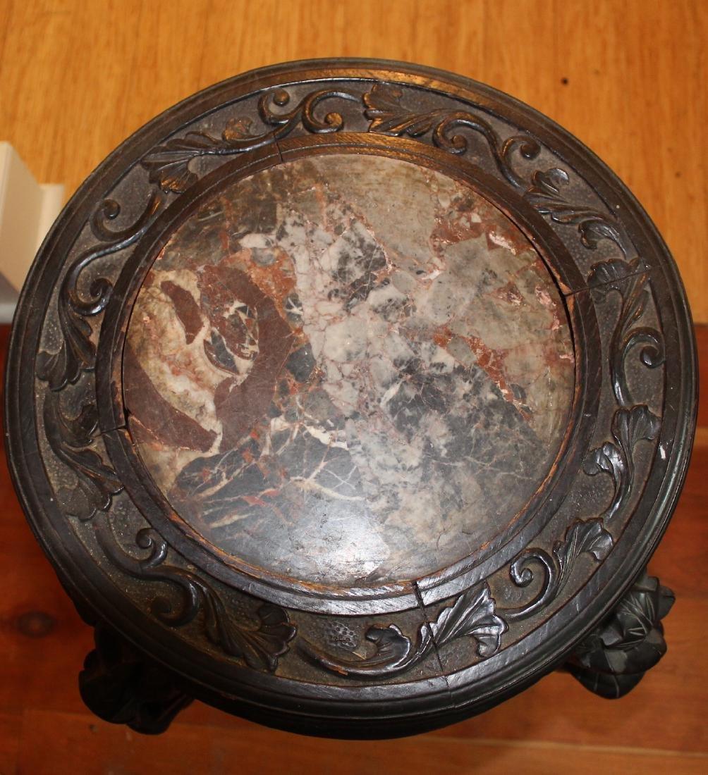 Oriental Teakwood Marble Top Table - 2