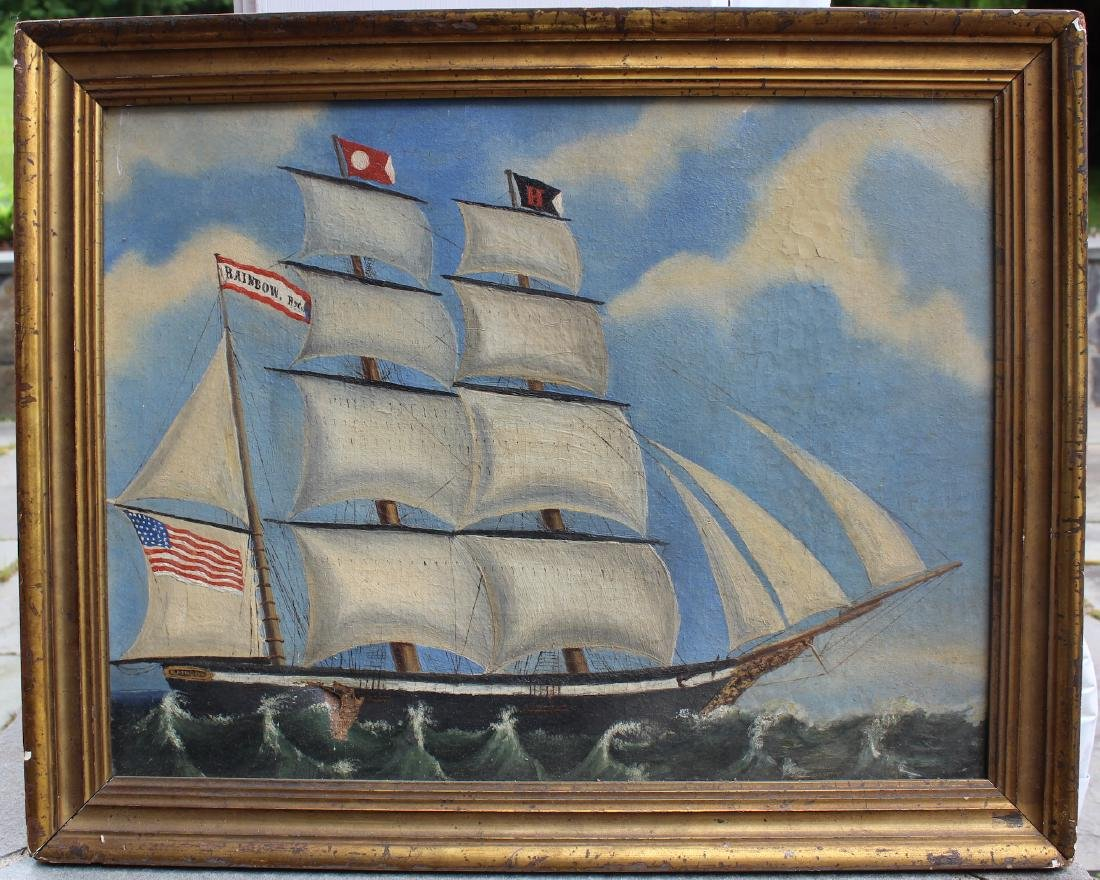 19th C. Oil. Clipper Ship. Rainbow. Framed.