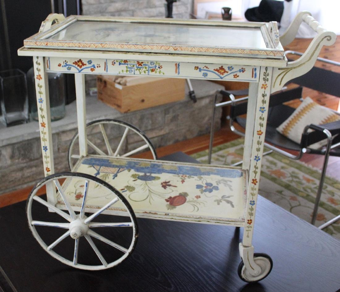 Floral Decorated Two Tier Hostess Cart