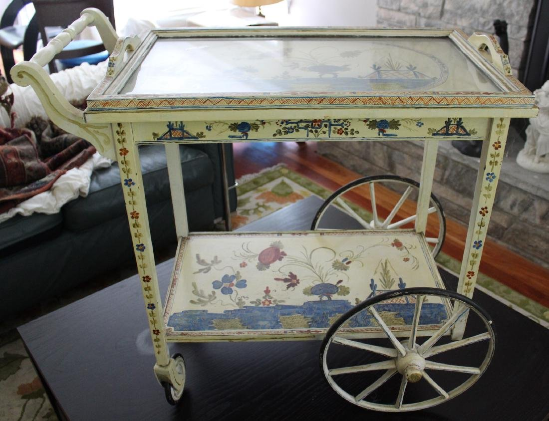 Floral Decorated Two Tier Hostess Cart - 2