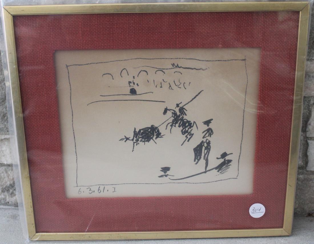 Picasso Lithograph.La Pique Los Toros 1961Signed