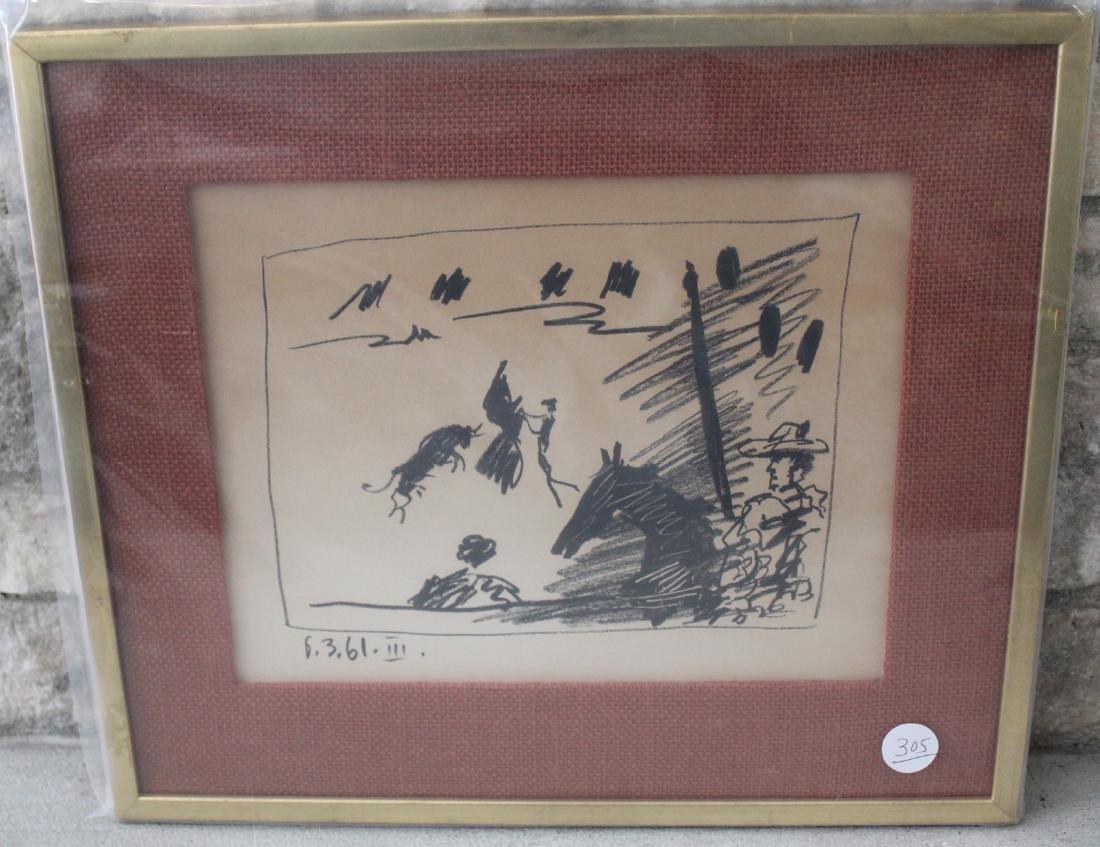 Pablo Picasso Lithograph. La Pique Los Toros 1961