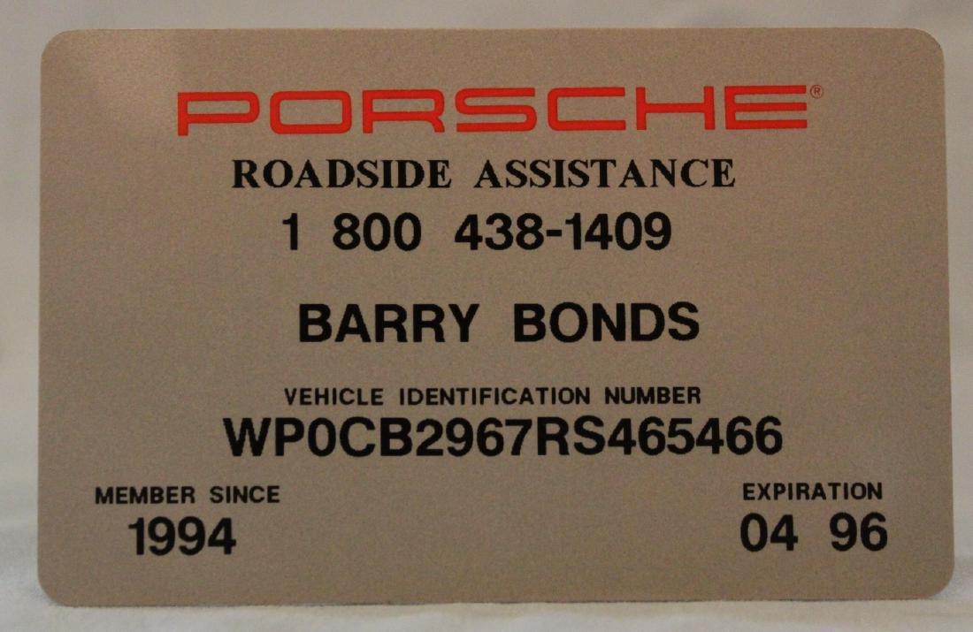 Barry Bonds Porsche  Roadside Assistance Card