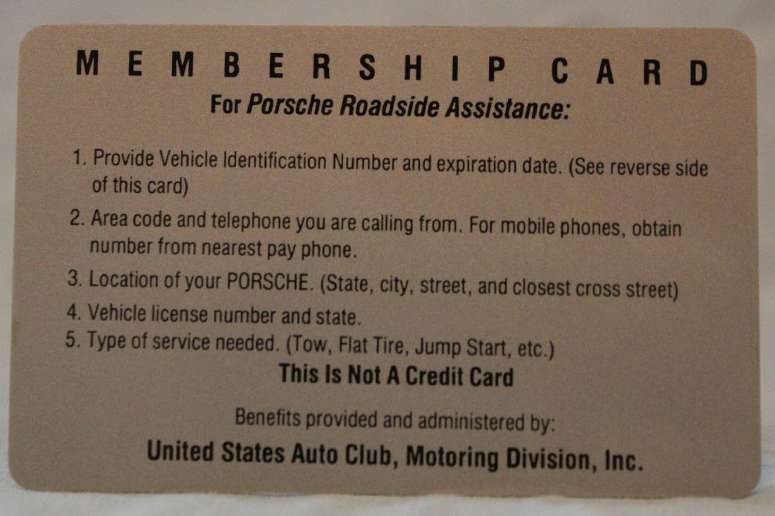 Barry Bonds Porsche  Roadside Assistance Card - 2
