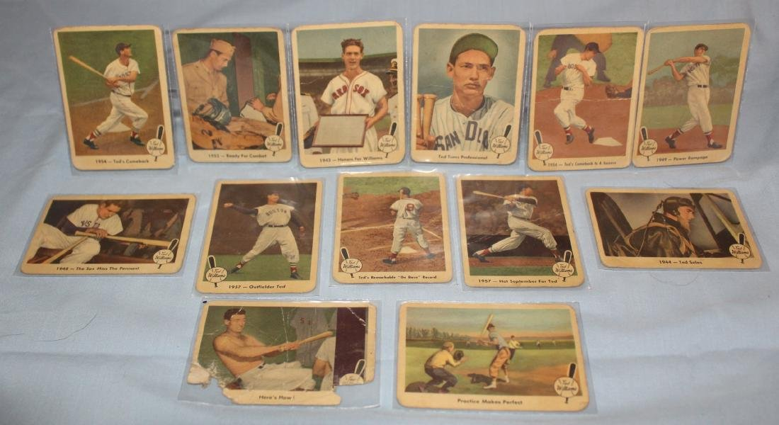 Ted Williams Baseball Cards. (13)