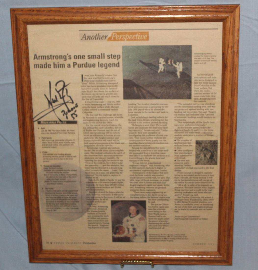 Newspaper Signed Neil Armstrong on the Lunar Page