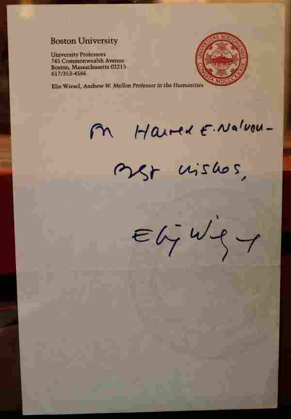 Elie Wiesel TLS Type letter signed