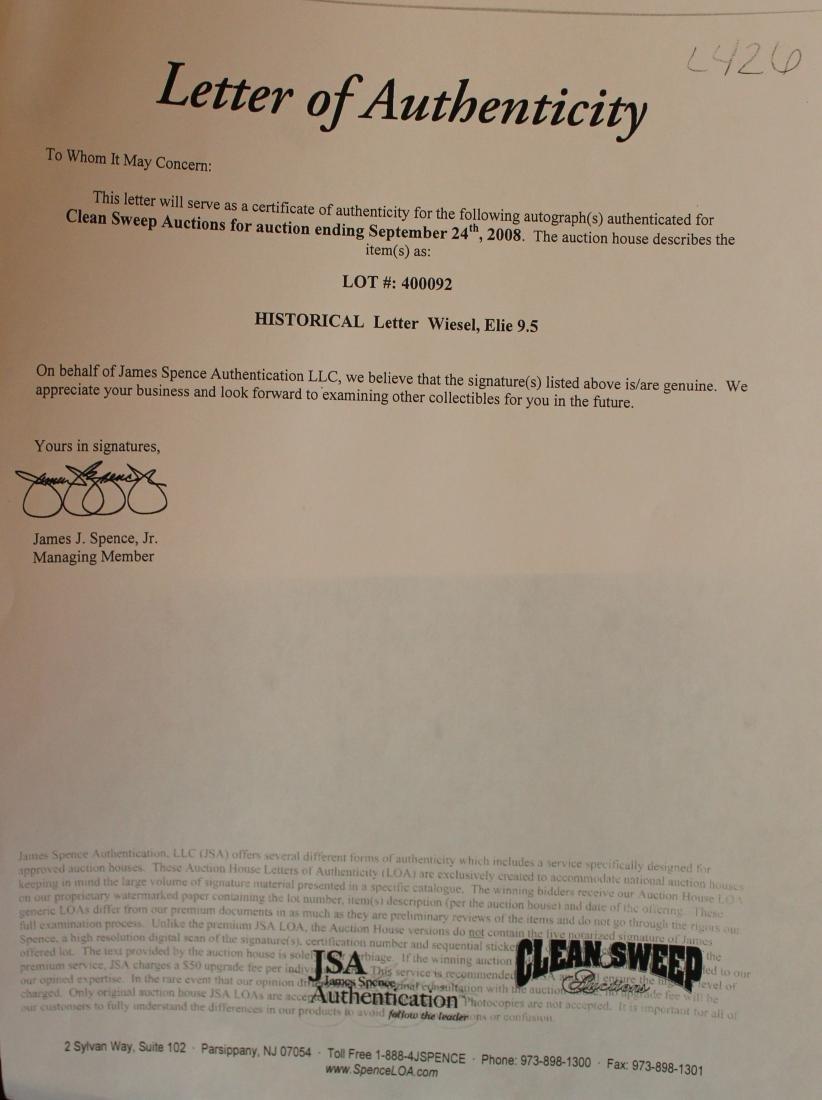 Elie Wiesel TLS Type letter signed - 2