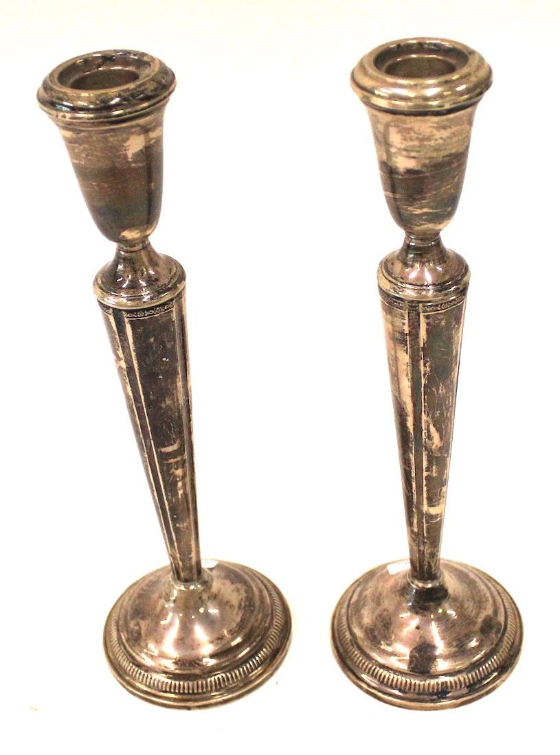 Pr. Sterling Silver Weighted Candlesticks.
