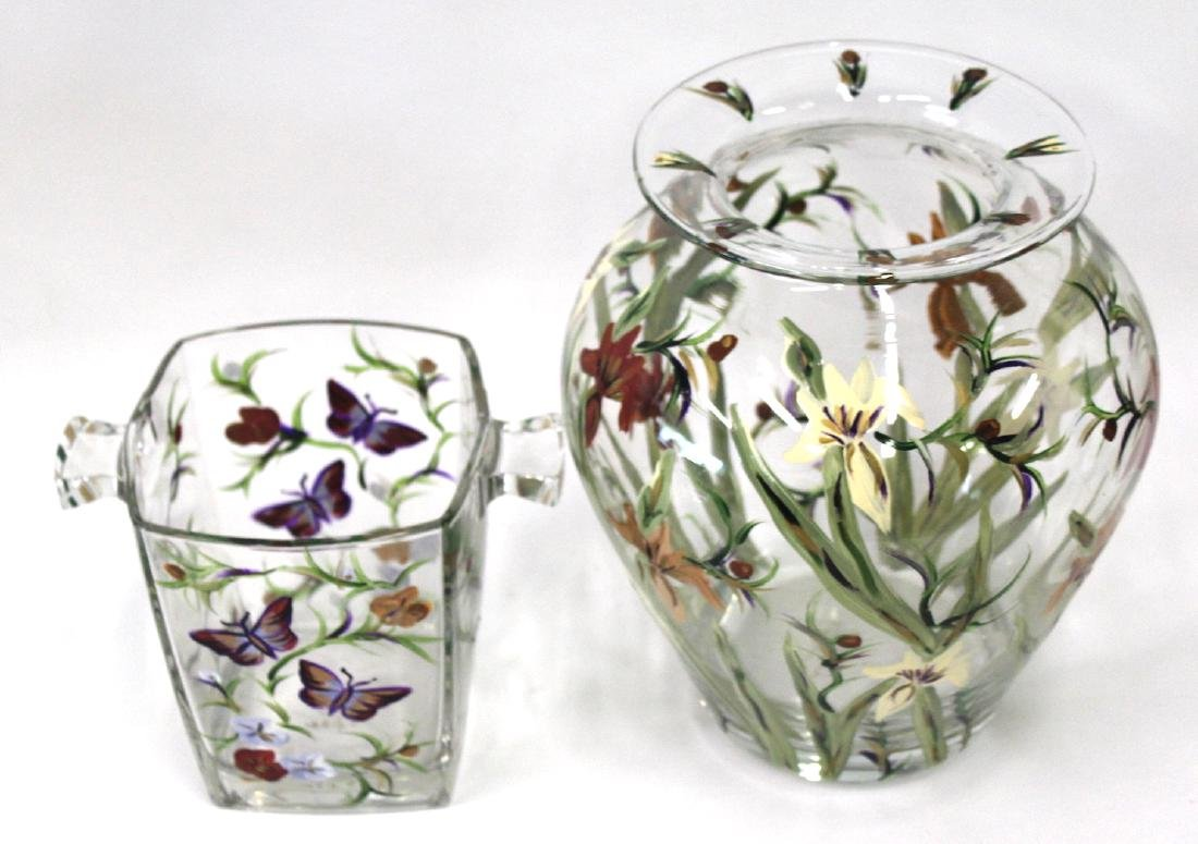 Robin Lira Hand Painted Floral Vase & Ice Bucket