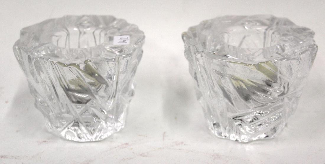 Pr. Orrefors Candleholders. Icy Pattern. - 2