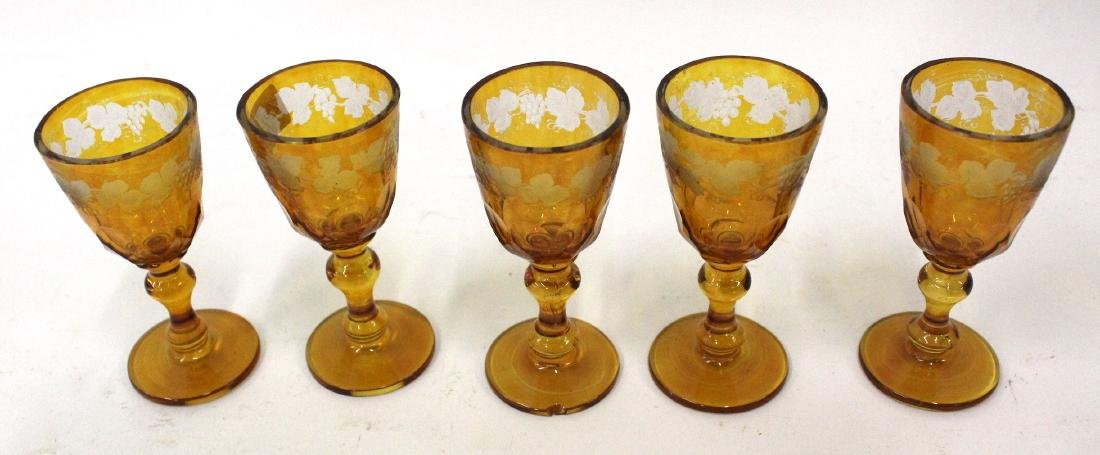 Moser Amber Glass Frosted Cordials (5)