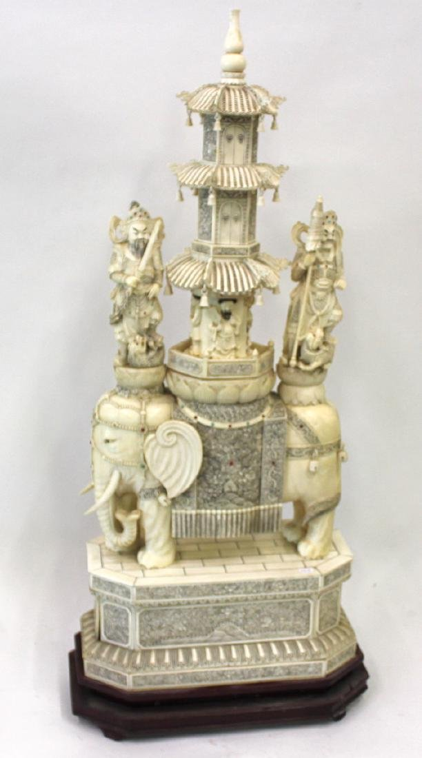 19th C.Monumental Bone Pagoda