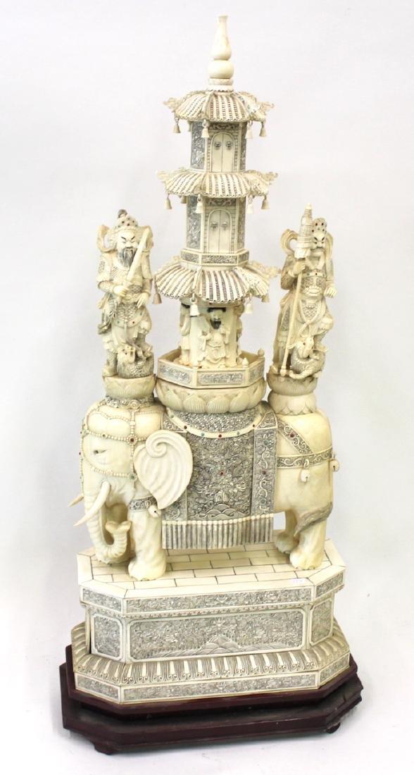 19th C.Monumental Bone Pagoda - 2