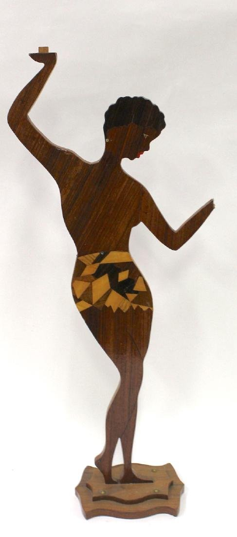 "Carved Wood ""Josephine Baker"" Stand"