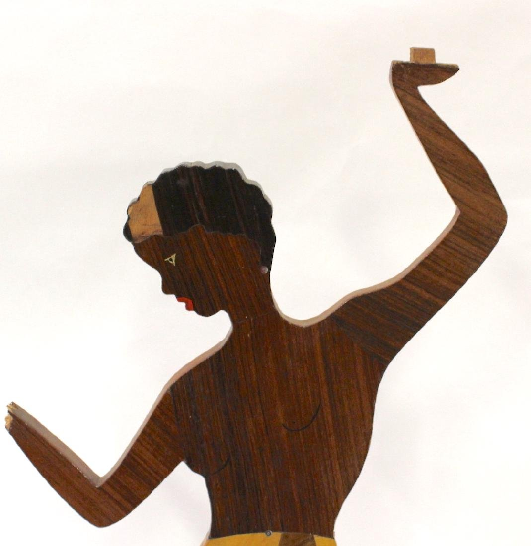 "Carved Wood ""Josephine Baker"" Stand - 4"