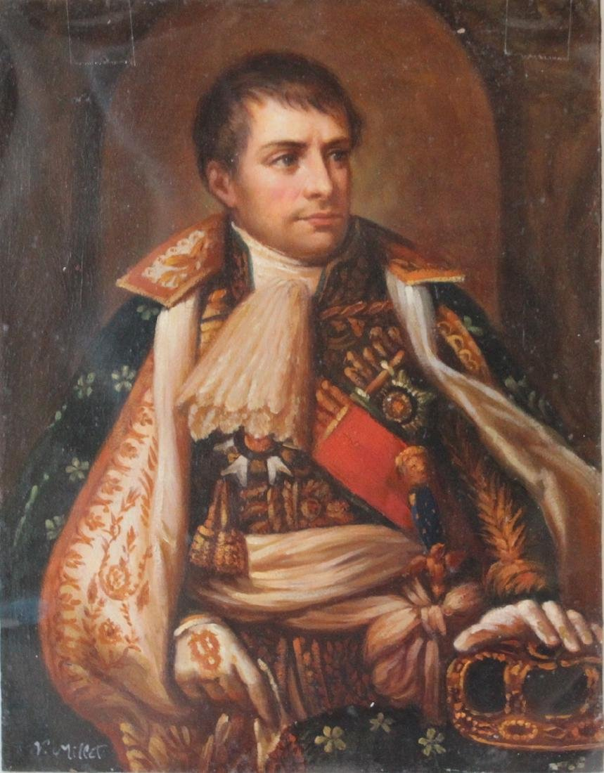 P. Millet. Napoleon. Oil on Copper.
