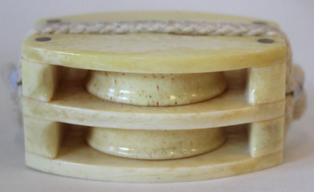 Carved Bone Oriental Pulley - 3
