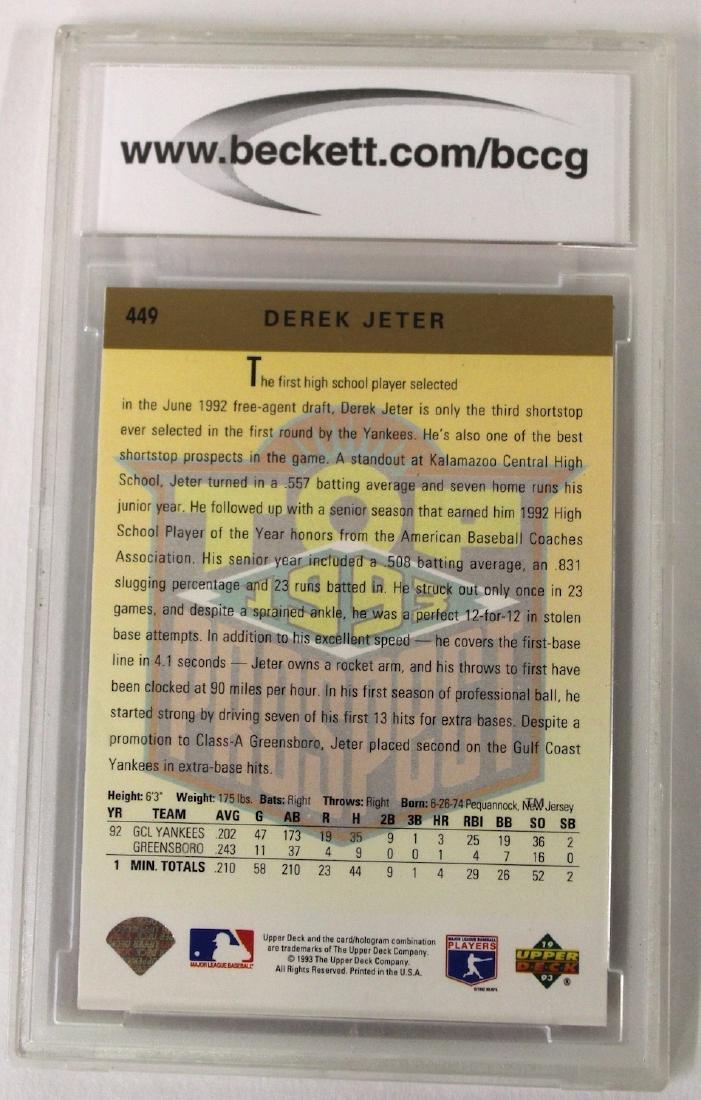 1993 Derek Jeter Upper Deck Card Graded - 2