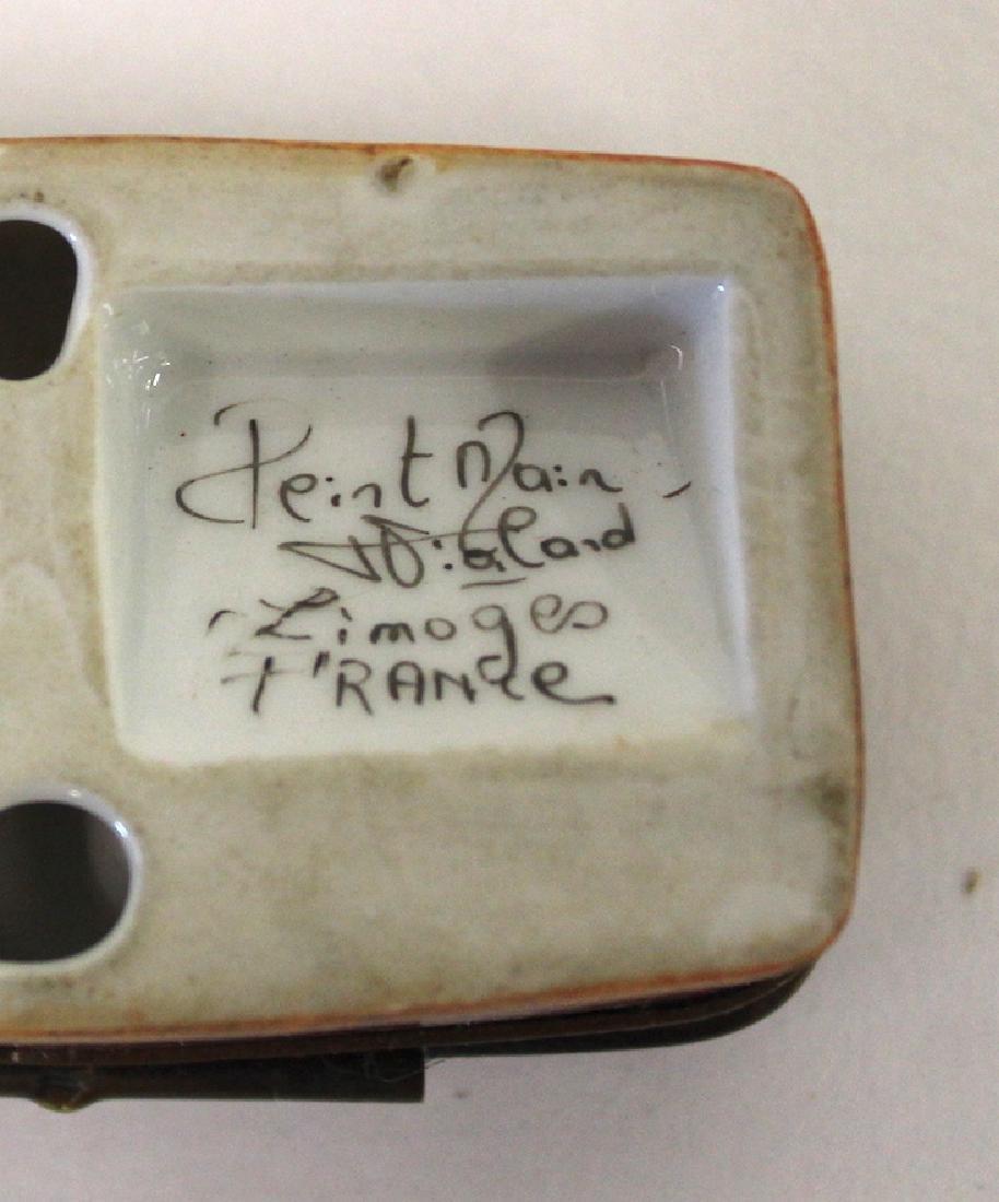 Antique Limoges Stamp Box Artist Signed - 3