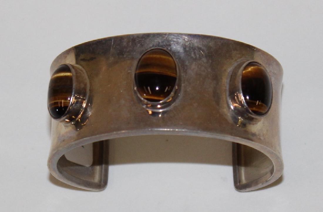 Mexican Silver & Tiger Eye Cuff Bracelet