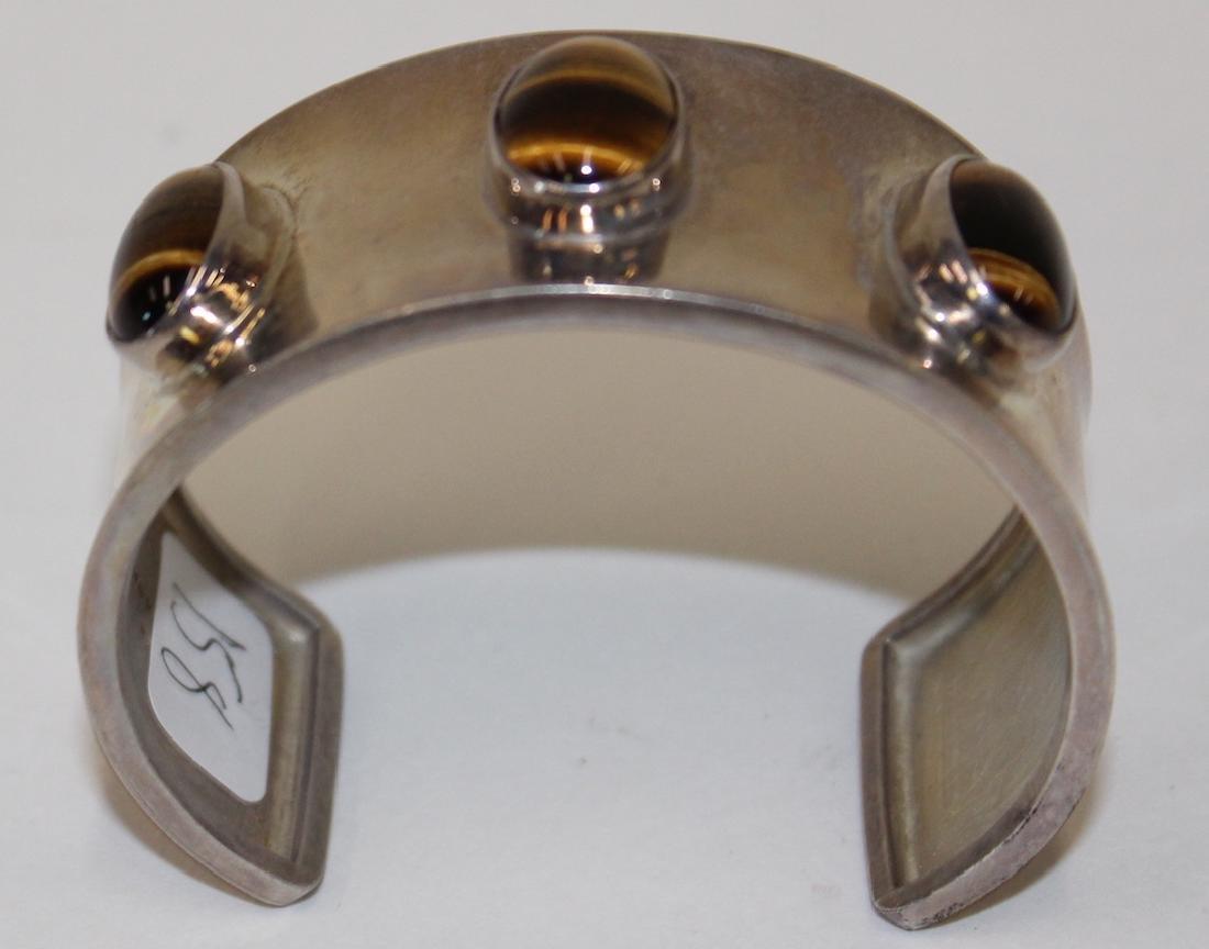 Mexican Silver & Tiger Eye Cuff Bracelet - 2